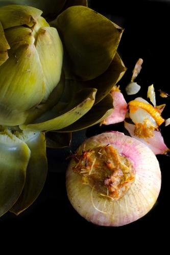 Oignon rose farcie et son vert artichaud